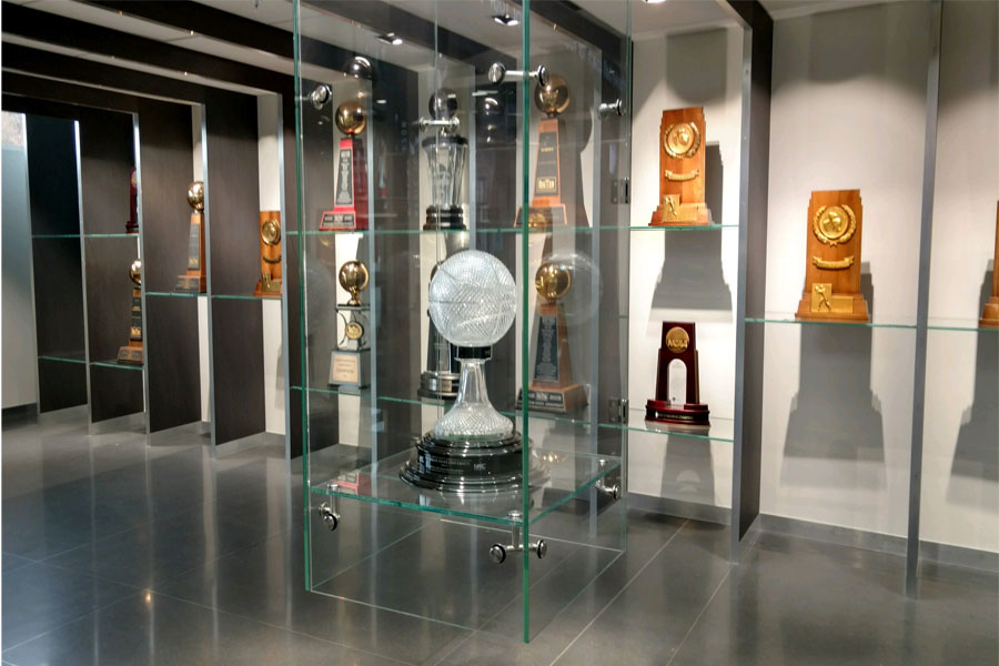 Breslin Hall of History Glass Display Case
